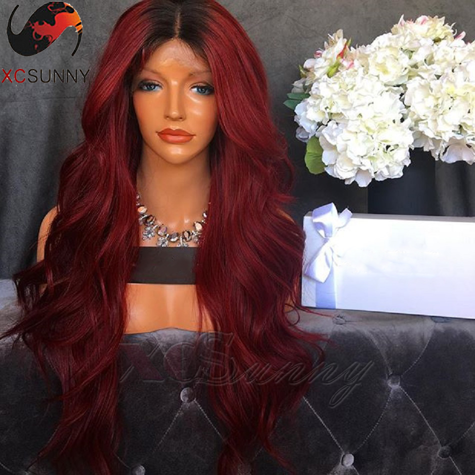 XCSUNNY 180 Density Long Wavy Full Lace Wig Ombre Color 1B