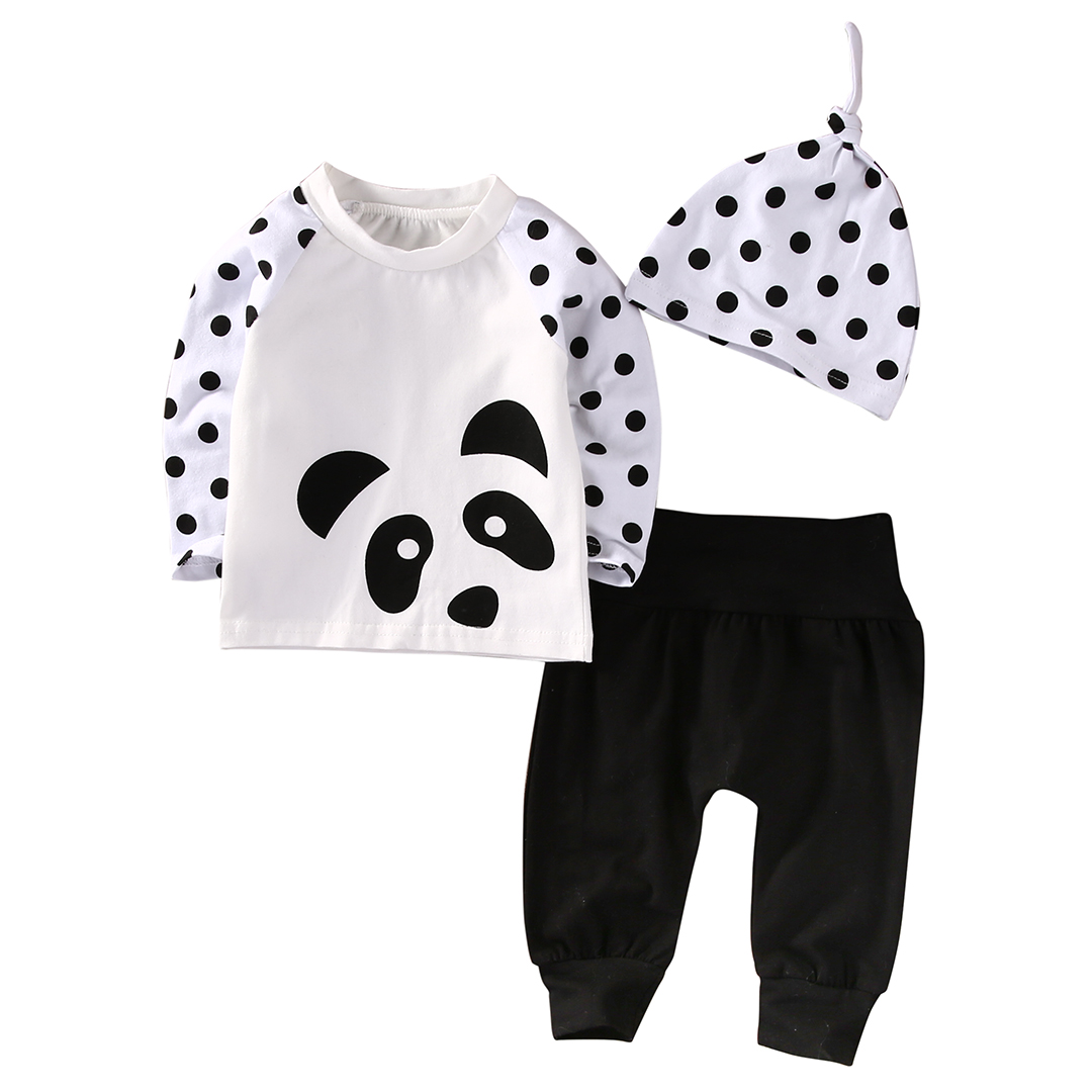 3PCS Set Newborn Baby Clothes Cute Infant Bebes Panda Dot T-shirt Tops Pant Hat Outfit Bebek Giyim Clothing Set 0-24M 3pcs newborn baby girl clothes set long sleeve letter print cotton romper bodysuit floral long pant headband outfit bebek giyim
