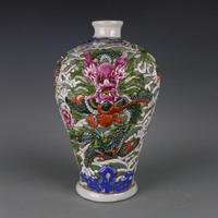Rare QingDynasty porcelain vase,Pastry glaze,Carved dragon,hand painted crafts,Decoration,Collection&Adornment