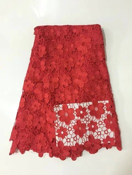latest nigerian french mech lace fabric Embroidered High Quality African Lace Fabric 2017 Red cord Lace Fabric For Party KRA1240