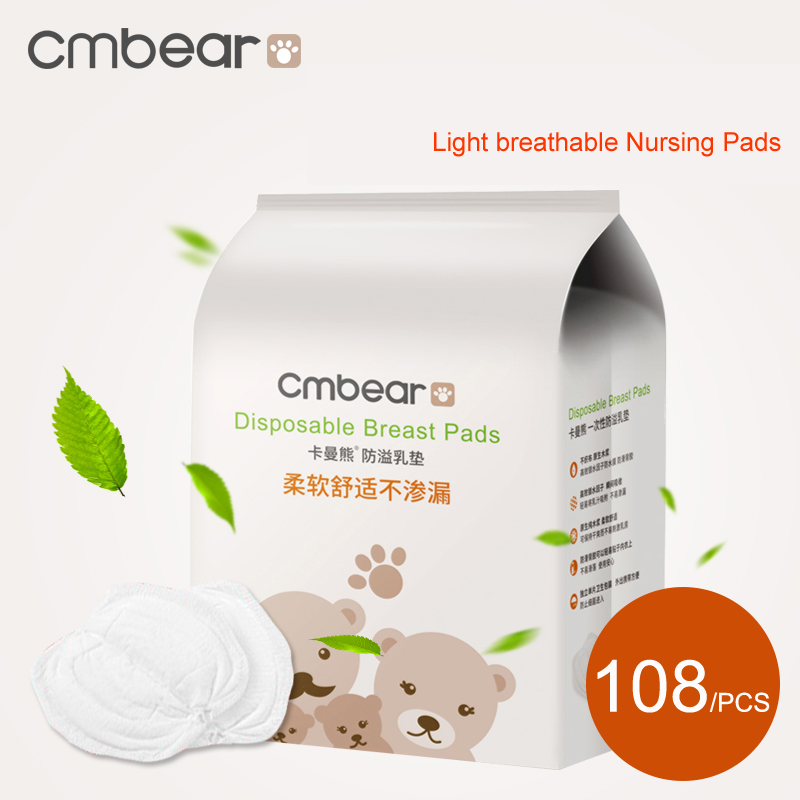 New 2020 Cmbear 108/PCS 100% Cotton Soft Breathable Super Absorbency Disposable Breast Pads Breast Feeding Nursing Pad ZRD-0600