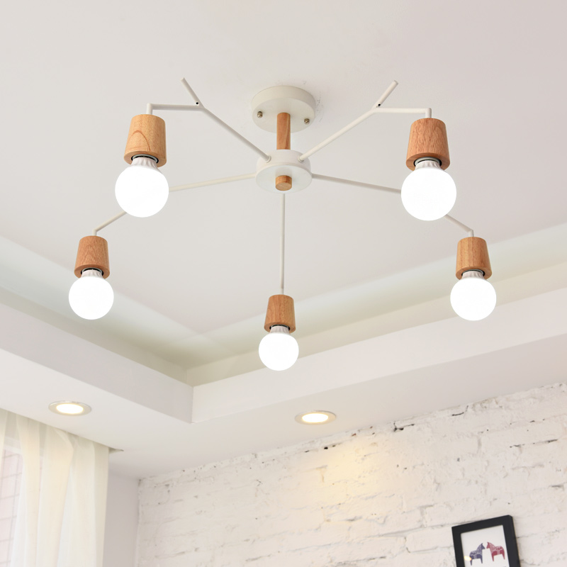 Nordic study hanging Lights personality solid wood Light modern bedroom Ceiling Lamp restaurant Luminaria Led living room lamps