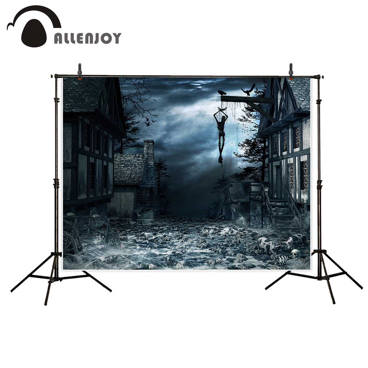 Allenjoy Halloween horrible backdrop hanging Body Scary Bone House Dark photo background vinyl backdrops for photography life size scary severed head party decoration haunted house halloween props