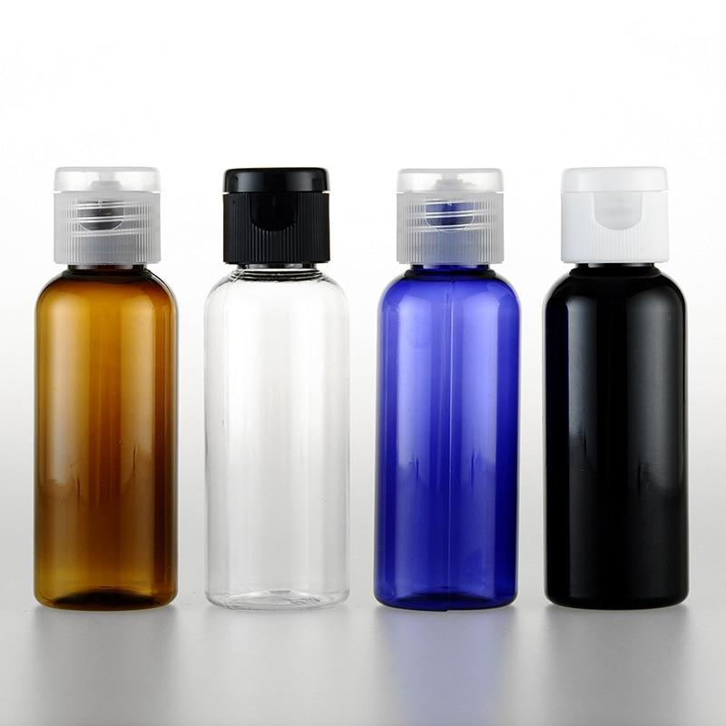 5pcs/set 50ml flip-top cap bottle Round shoulder Emulsion PET shampoo Cosmetic Sub-bottle wholesale BQ150