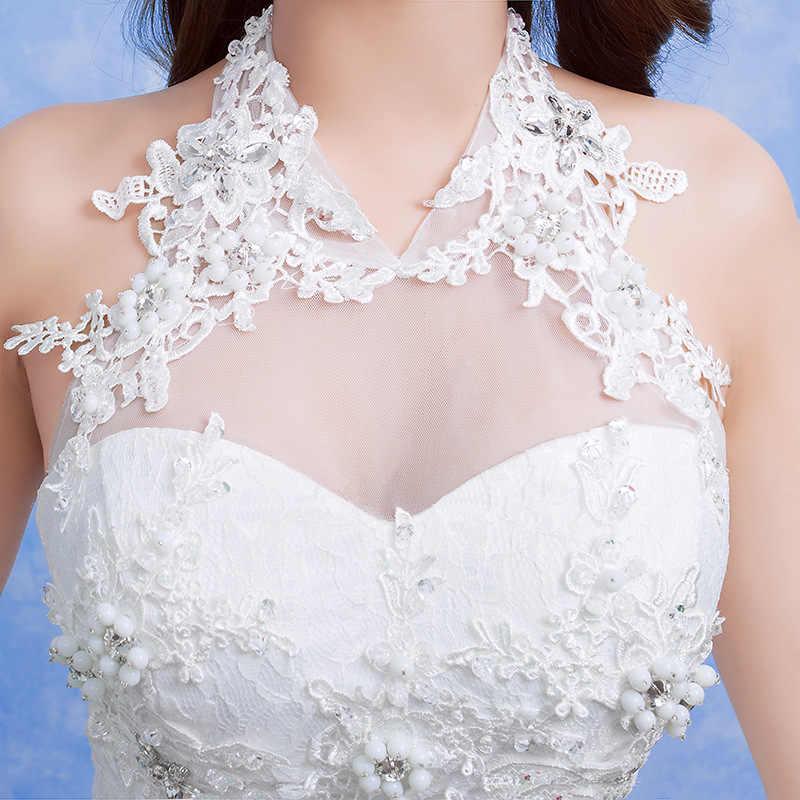 כלה שמלת בת ים 2019 כלה שמלת בת ים שמלה סקסי אשליה פרחוני תחרה טול הלטר שרוולים קפלת רכבת לבן בתוספת