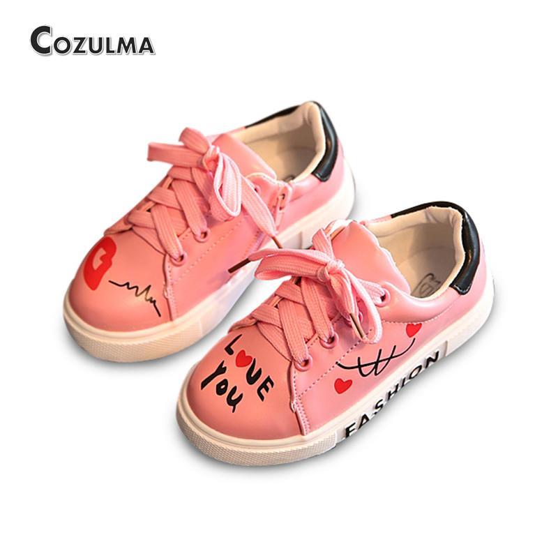 be2738e02a505 COZULMA Filles Garçons chaussures décontractées Sneakers 2019 Enfants  chaussures de sport Bébé Garçons Chaussures Enfants Lettres à lacets  chaussures de ...