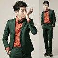 (Jacket + Pants) Moda Hombres de Negocios Vestido de Traje Profesional Trajes de Hombre de Traje de Novio de La Boda Vestido