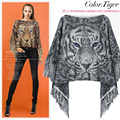 Free shipping New Fashion 2017 Autumn Winter Women Tiger  Wool Pullovers Sweaters Bat Sleeve Shawl Poncho Cape Coat Sweaters