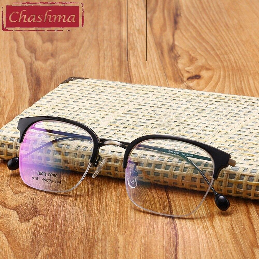 3cf2e1f412b859 Chashma Merk Half RimEyeglasses Vrouwen Mode Optische Frames Clear Lenzen  TR90 Bril Trend Bril Frame Heren Bril in Chashma Merk Half RimEyeglasses  Vrouwen ...