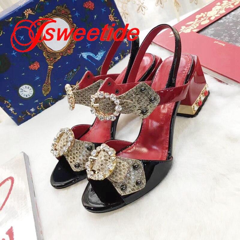 Nuovo peep toe pelle Verniciata degli Alti talloni del Sandalo Di Modo di Disegno di Alta tacchi scarpe di Strass In Vera Pelle Sandali di marca di lusso-in Tacchi alti da Scarpe su  Gruppo 2