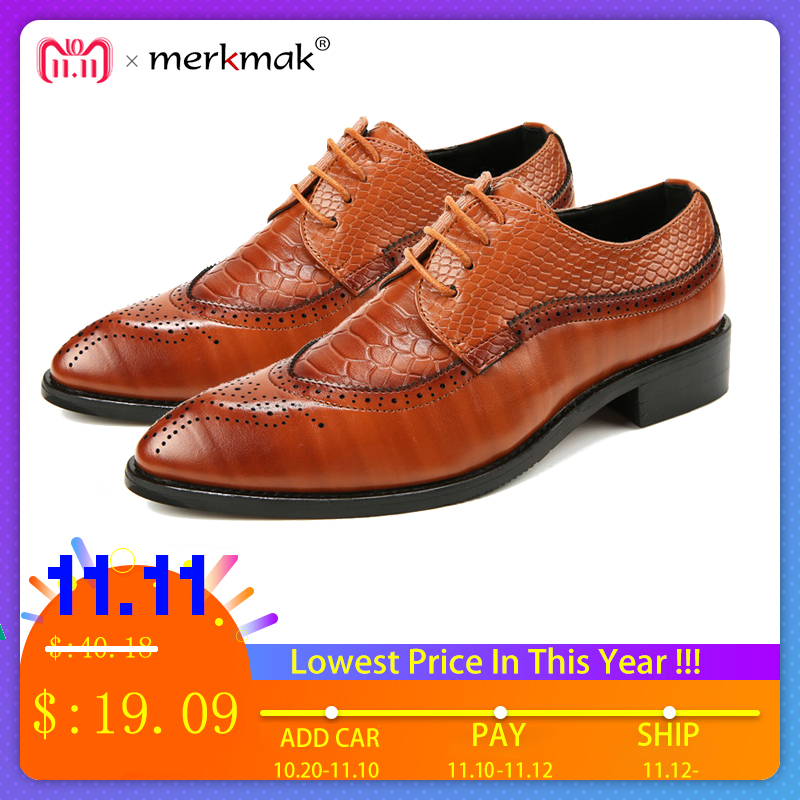 Merkmak 38-48 Fashion Leather shoes Men Dress Shoe Pointed Oxfords Shoes For Men Lace Up Designer Luxury Men Formal Shoes 2018 qffaz new fashion mens formal dress shoes pointed toe genuine leather bullock oxfords shoes lace up designer luxury men shoes