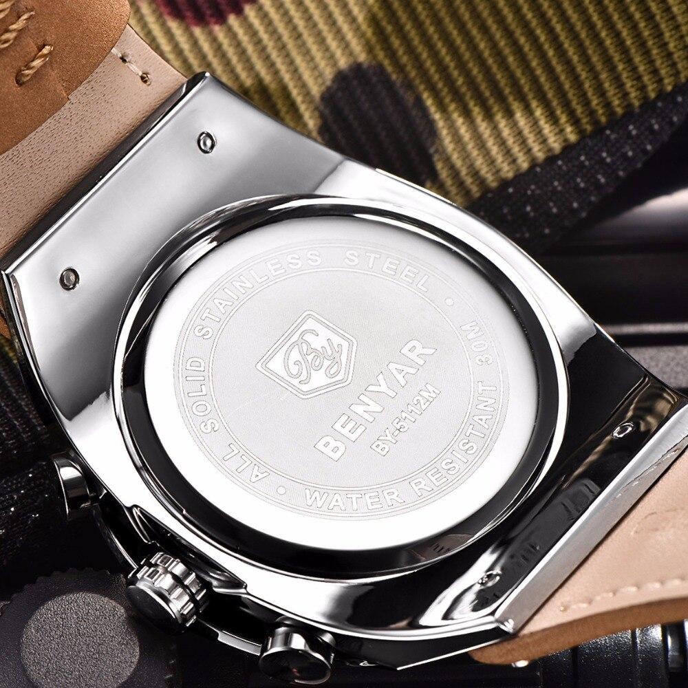 3a142ef44d0 BENYAR Marca Cronógrafo Esportes Homens Relógios Militar Moda Relógio de  Quartzo de Couro À Prova D  Água Relogio masculino Zegarek MeskiPonto Uma  coisa a ...