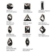 Jet hematite 11 Shape Sew on Rhinestones Glass Beads Crystal Strass Stones Rhinestone Appliques For Dance Garment Dress