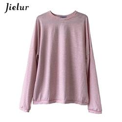 Jielur Korean Fashion Comfortable Stripe T Shirt Female Brief Slim Hipster Long Sleeve Tshirt Women Black White Autumn Top Femme 5
