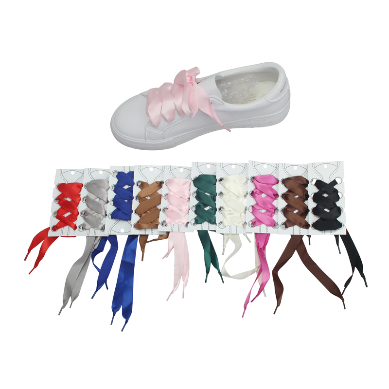MYLEY 1Pair 113CM Fashion Shoestrings Flat Silk Satin Ribbon Shoelaces Fantastic 2cm Wide Colorful Shoelaces Drop Shipping brown satin ribbon shoelace 2cm width
