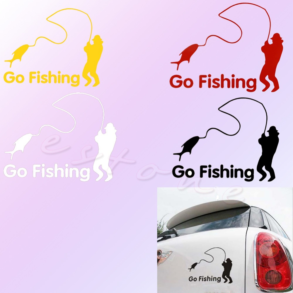 QILEJVS Funny Styling Car Stickers Go Fishing Outdoor for Car Accessories Decoration NEW