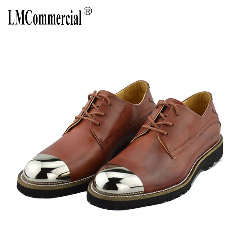 7f68449138f4 De Printemps Véritable Noir Chaussures Dentelle En Cuir Homme Vache brown  Robe Automne Tout allumette Hommes ...