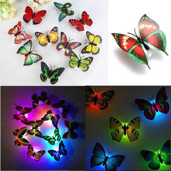 Random Color Lovely Changing Beautiful Cute ABS Butterfly LED Night Light Lamp