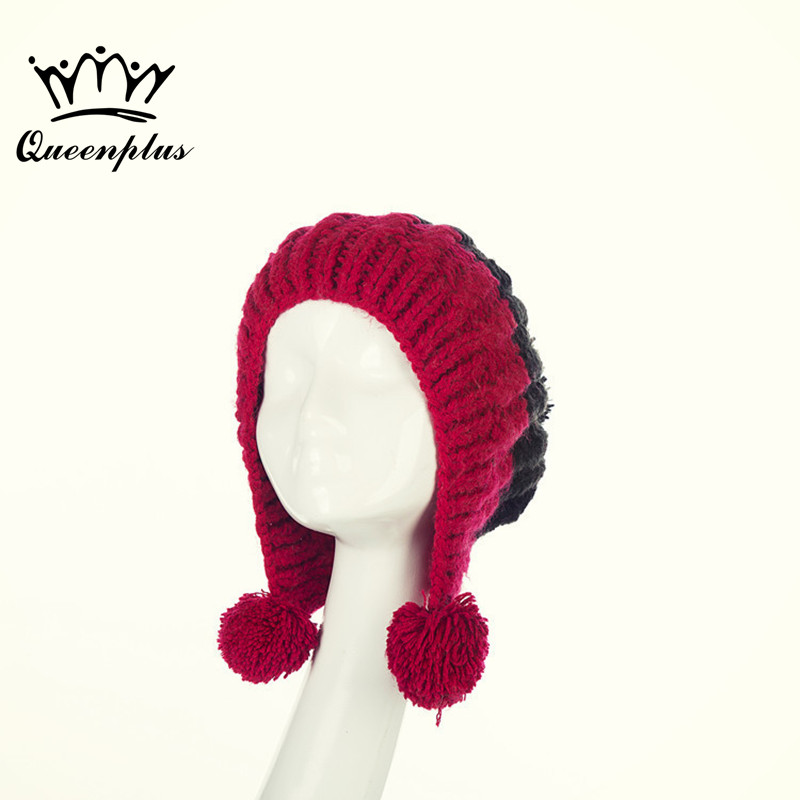 2017 New Fashion Hand knitting Autumn Winter Fight color Three fur ball Knitted Hat For Women/Ladies