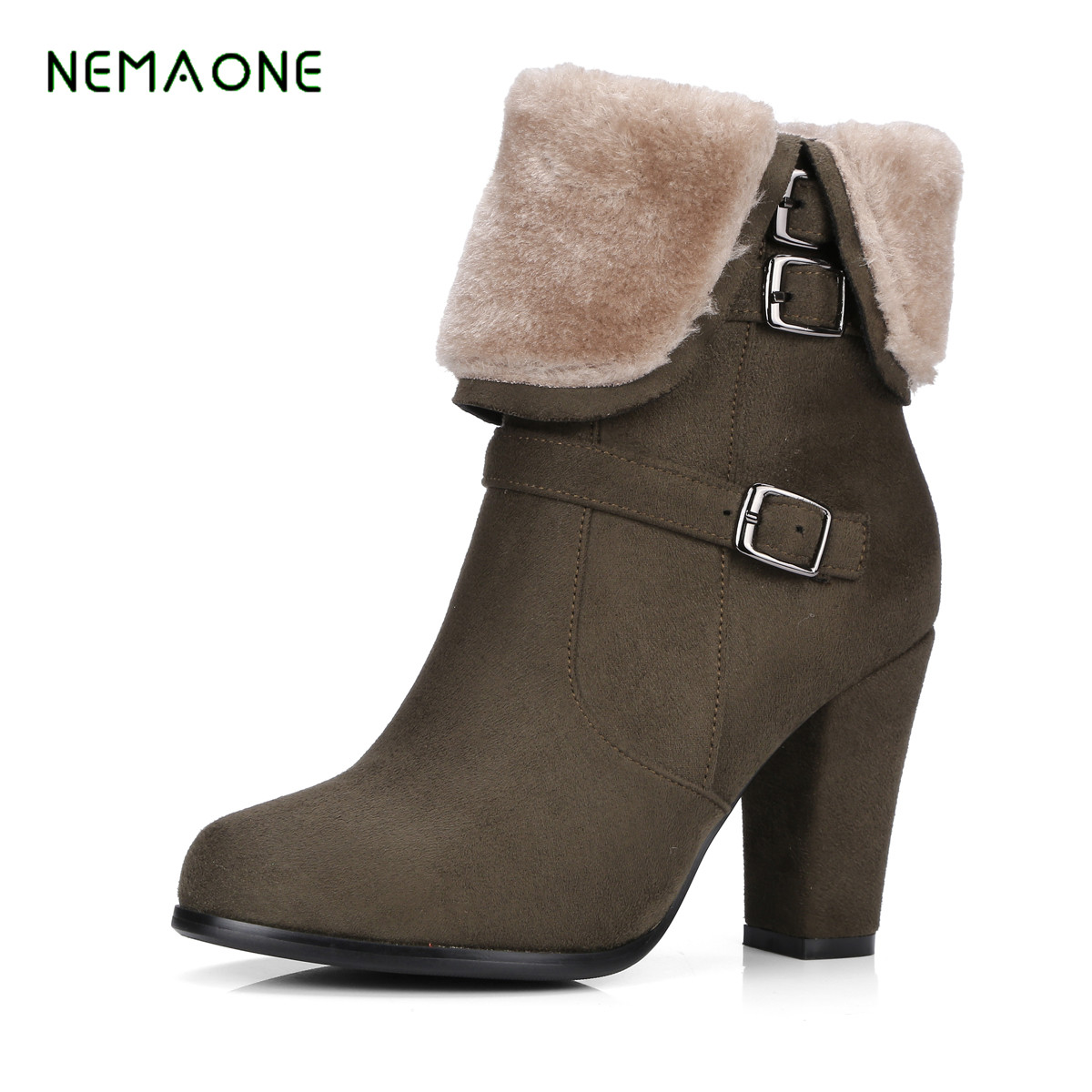 NEMAONE 2017 Women Shoes Buckles Warm Black Gray Short Ankle Snow Boots High Heels Lady Thick Boot  Female Winter Boots nemaone 2017 gladiator snow boots women flats heels half short boot ladies warm plush winter boots leisure shoes woman