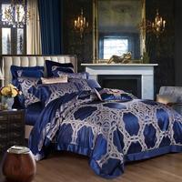 80 s синий king size Роскошный шелк тутового Утешитель набор дворец постельное белье пара простыней набор взрослых домашний текстиль beddengoed
