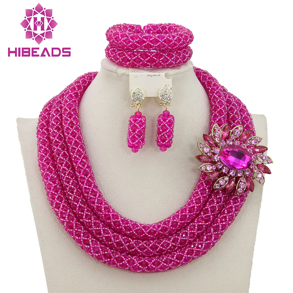 Charming Fuchsia Pink Nigerian Wedding Jewelry Set Indian Bride Gift Costume 2017 Hot Free Shipping WB178 In Sets From