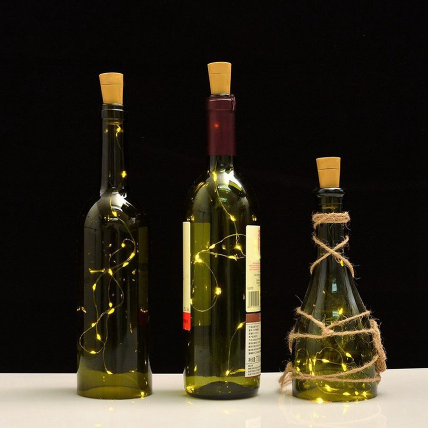 Top Grand Solar Wine Bottle Cork Shaped String Light 10 LED Fairy Light Lamp Xmas Decoration Light For Party Dropship #J6