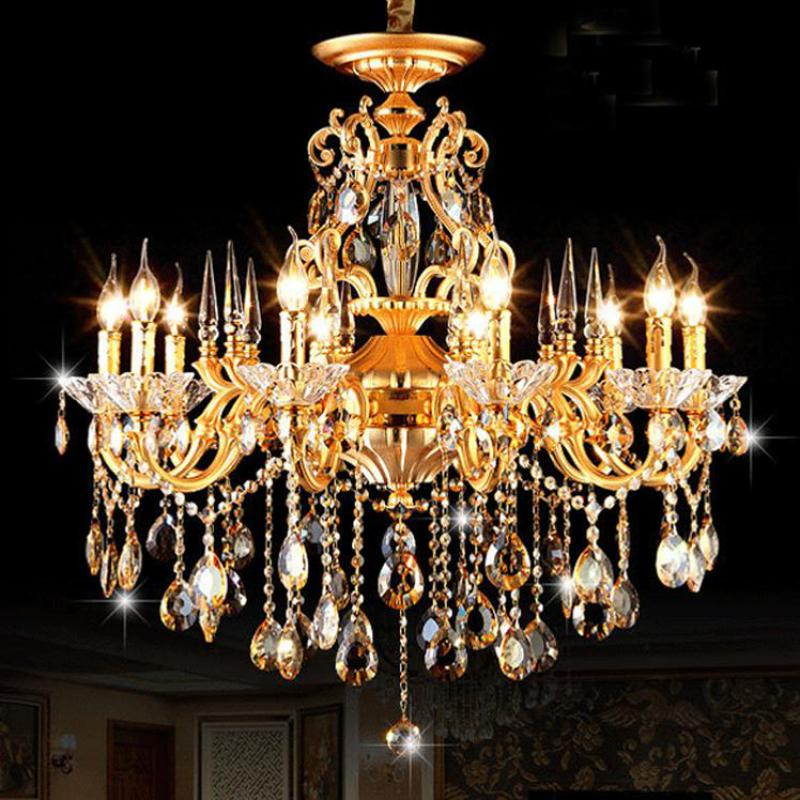 Home E14*10 Gold led candle chandelier Contemporary crystal chandeliers for kitchen Club Bar light Antique Restaurant Lampadari led gold deco chandelier bulbs candle light e14 85 265v 5w lamps