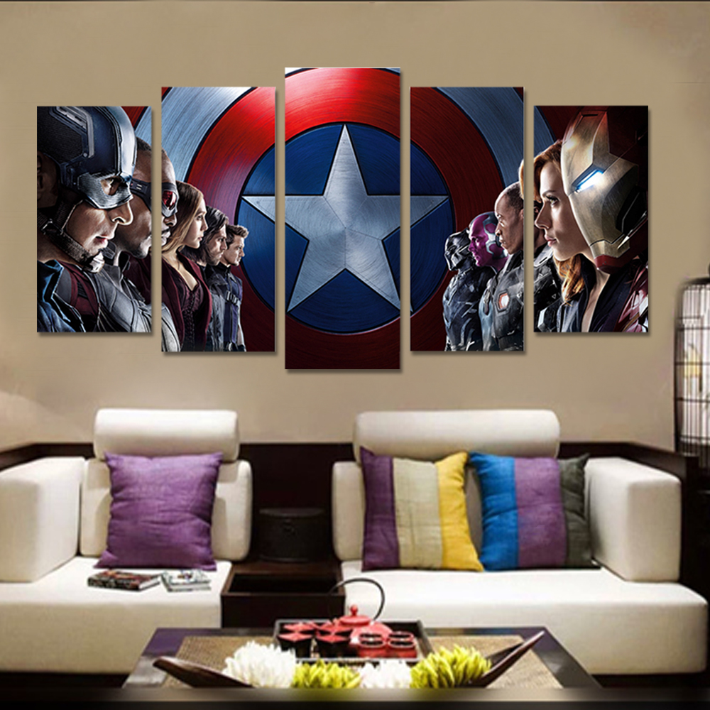 Unframed 5 HD Canvas Prints The Avengers Wall Pictures For Living Room Decoration Mural Module Art Spray Painting Dropshipping
