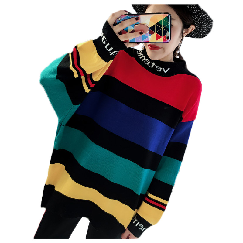 2019 Women's Sweater Stitching Striped Loose Bat Sleeves Long Casual Pullovers Woman