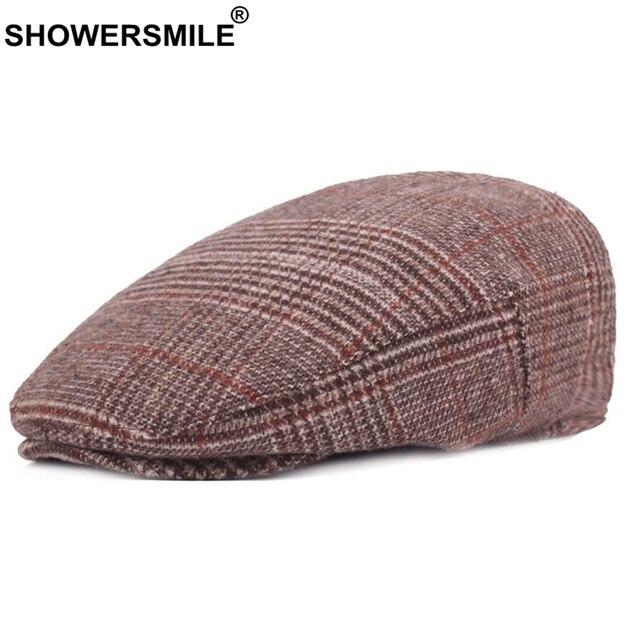 34d2588e83353 SHOWERSMILE Plaid Beret Hats Women Khaki Checkered Duckbill Hat Men Vintage  Casual Caps Classic Wool British Winter Flat Caps