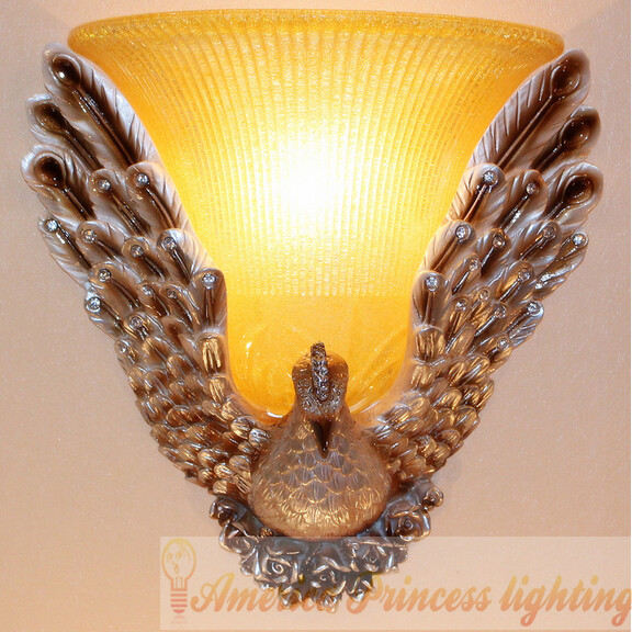 The new peacock resin wall lamp  living room bedroom bedside  aisle lamps , size: 39*39CM, AC110-240V.