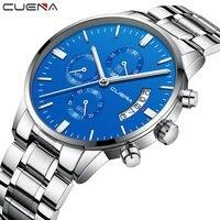 Cuena cronógrafo topo da marca de luxo aço completo relógios homem negócios quartzo relógios pulso à prova dwaterproof água masculino relógio relogio masculino