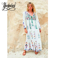 YACKALASI 2017 Spring Summer Dress Bohemian Dress White Embroidered Long Sleeve Vintage Hippie chic brand women dresses clothing