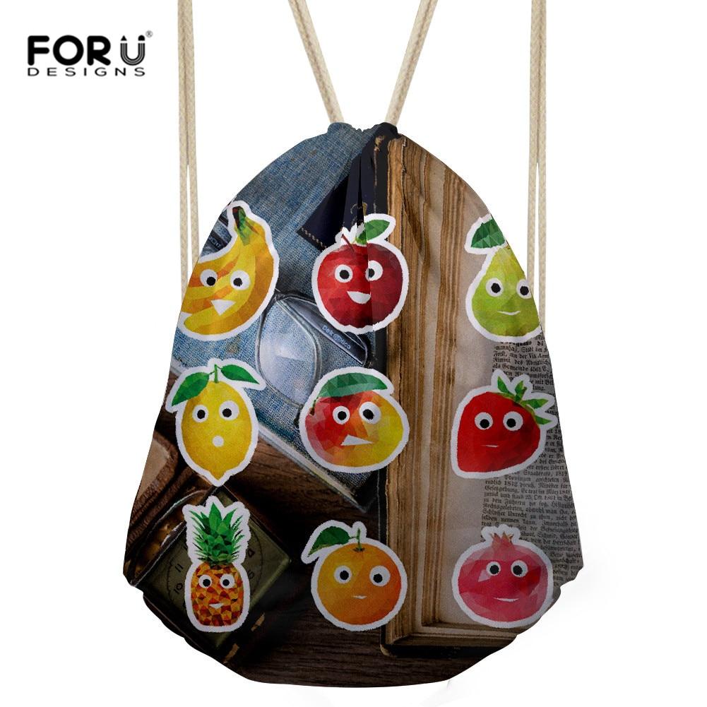 FORUDESIGNS Funny Emoji Fruit Printing Drawstring Daypack Cute Girls Boys School Backpack Travel Mini Shoulder Bags Dropshipping
