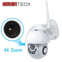 OUERTECH 4X Zoom PTZ IP Extérieure caméra de sécurité wi-fi 1080 P Détection de Mouvement vision nocturne caméra de sécurité TF emplacement pour cartes caméra cctv