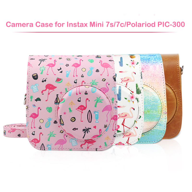 Compatible PU Leather Instax Camera Case Bag for Fujifilm Instax Mini 7s 7c Instant Camera and Polaroid PIC-300 Camera image