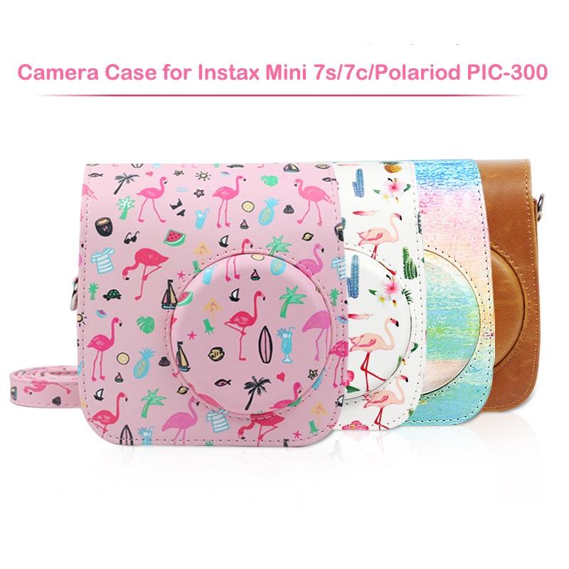 Saco compatível da caixa da câmera instax do couro do plutônio para a câmera instantânea 7s 7c da fujifilm instax mini e a câmera polaroid pic-300