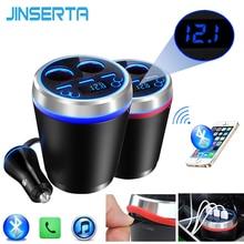 JINSERTA TF/Micro SD Música MP3 Player Bluetooth Car Kit Transmissor FM HandsFree Isqueiro Splitter 3 Portas USB carregador