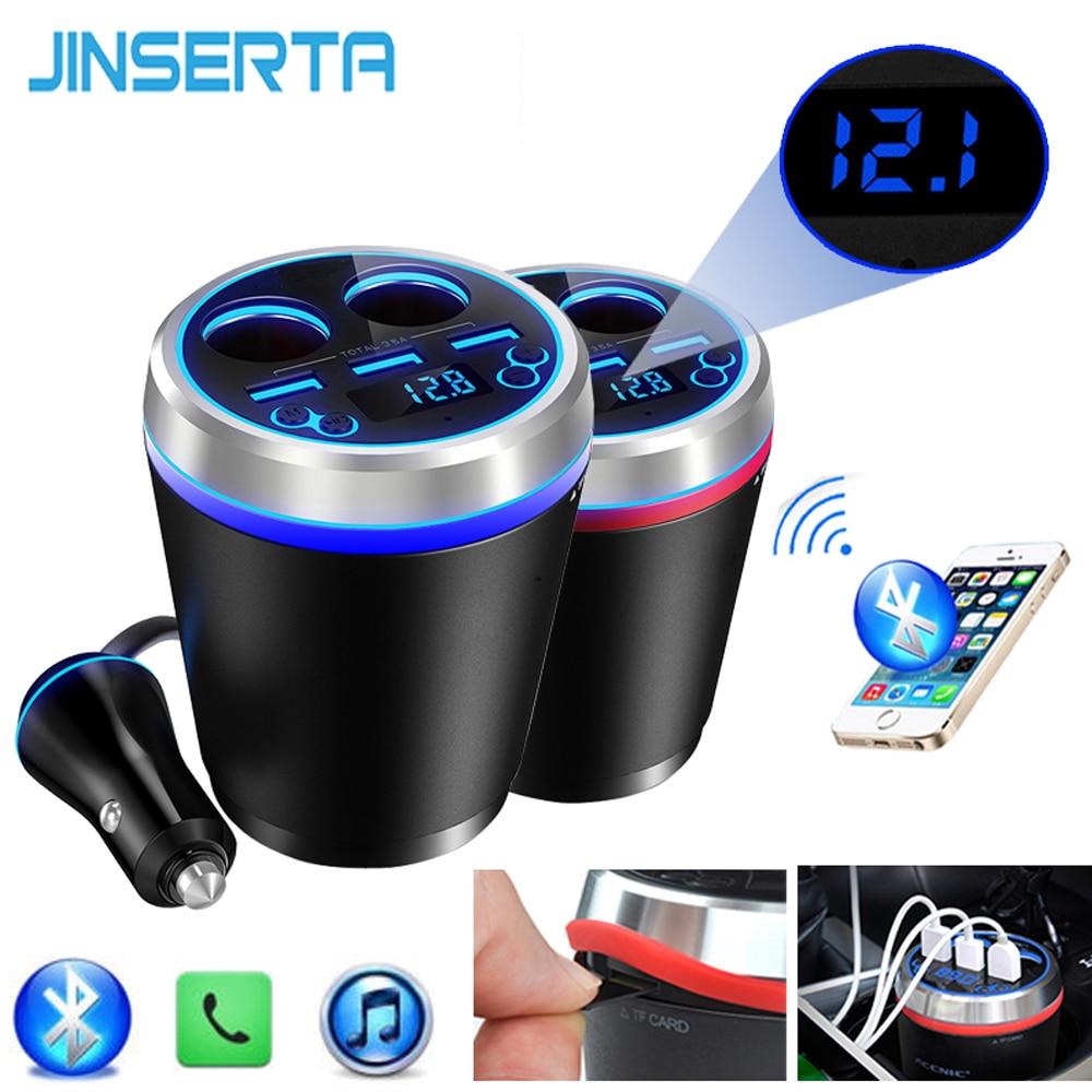 JINSERTA TF/Micro SD Musik Mp3-player Bluetooth Car Kit FM Transmitter Freihändiger Zigarettenanzünder Splitter 3 Ports USB ladegerät