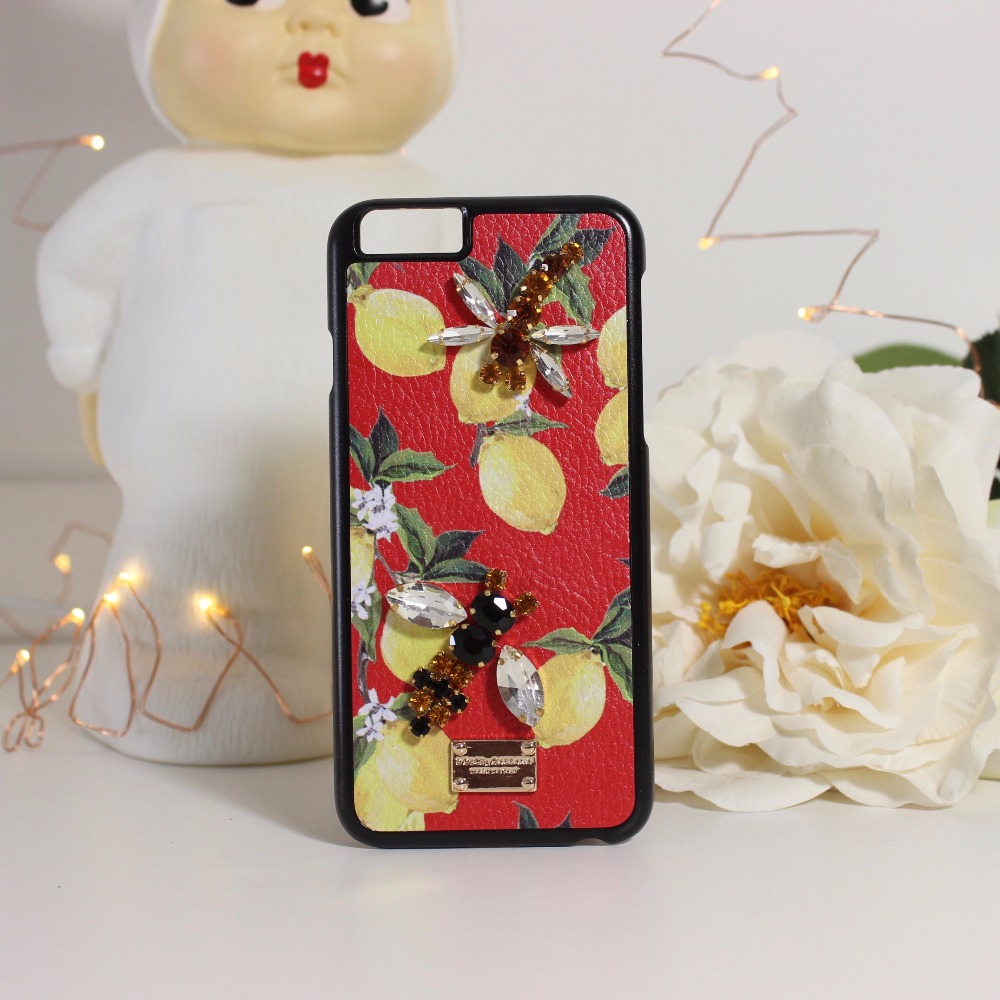 ღ ღAccesorios de lujo DIY libélula de limón patrón de teléfono de ...