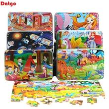 Nieuwe 60 Stuks Houten Puzzel Educatief Speelgoed Voor Kinderen Cartoon Dier Hout Puzzels Kids Baby Christmas Gift Met Ijzeren Doos