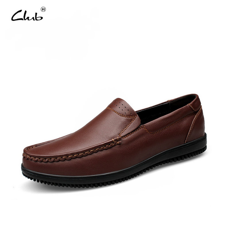 Club Brand Genuine Leather Boat Shoes Mens Oxfords Slip-On Leather Loafers Casual Shoes Mens Shoes Large Sizes Moccasins Men npezkgc new arrival casual mens shoes suede leather men loafers moccasins fashion low slip on men flats shoes oxfords shoes