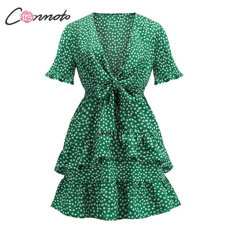 Conmoto Sexy Vintage Female Deep V Dress Green Summer 2019 Casual Dresses Beach Bohemian Ruffle Flounce Dress Vestidos Plus Size