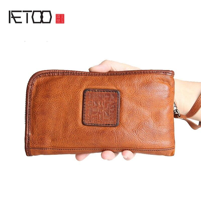 AETOO Hommes de long portefeuille est la marque de la première couche de sac à main en cuir en cuir zippée sac à main de grande capacité Vintage