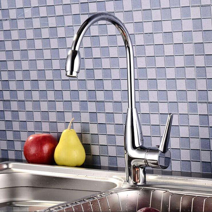 Retail Luxury Brass Kitchen Sink Faucet Hot Cold Kitchen Mixer Chrome Finish Kitchen Tap 10 Pieces