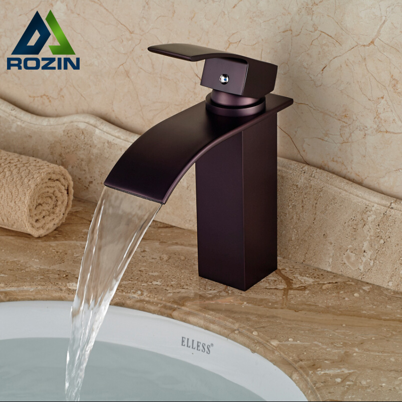 Good Quality Oil Rubbed Bronze Bathroom Sink Vanity Mixer Faucet Waterfall Basin Water Taps Free Shipping modern countertop waterfall bathroom basin sink faucet filler oil rubbed bronze mixer taps