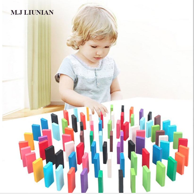 Colorful Childrens Domino Toys 120 Pieces/set Kids Game Wood Dominos Cards Children Fantasy Toy Baby Puzzle Toys M.j Liunian To Produce An Effect Toward Clear Vision Building & Construction Toys Toys & Hobbies
