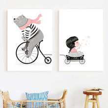Cartoon Bear Bicycle Little Girl Princess Posters And Prints Nursery Wall Art Canvas Painting Pictures Baby kids Room Decor