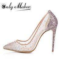 Onlymaker Giày Cưới Phụ Nữ Thay Đồ Bơm Giày Rhinestone Trang Trí Pha Lê Handmade Siêu Prom Spike Giày Cộng Với kích thước 13